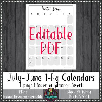 Teacher Binder 2018-2019 1 Pg Monthly Calendars Planner Notebook Insert EDITABLE