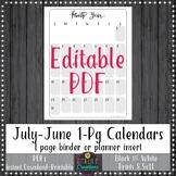 Teacher Binder 2018-2019 1 Pg Monthly Calendars Planner No