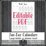 2019 1 Page Monthly Calendars EDITABLE