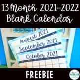 2018-2019 13 Month Blank Calendar Template