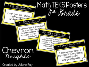 "2018-2019 3rd Grade Math TEKS ""I Can"" Statement Posters: CHEVRON BRIGHTS"