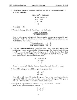 2018-2019 ACT Practice Test - Detailed Math Solutions