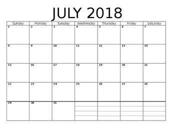 2018 2019 Academic Calendar By All Is Number Teachers Pay Teachers