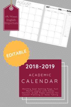 2018-2019 Academic Calendar - Editable