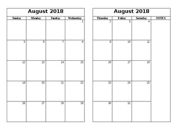 2018-2019 Academic Planner Template for Composition Books