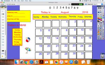 2018-2019 August to July Calendar flip chart and basic math skills