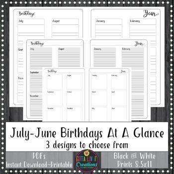 Teacher Binder 2018-2019 BIRTHDAYS Yearly At A Glance Planner Notebook Insert