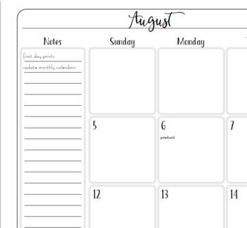 Teacher Binder 2018-2019 2 Pg Monthly Calendar Planner Notebook Insert EDITABLE