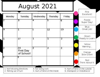 2018-2019 Behavior Calendar