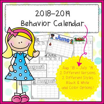 Free Printable January 2019 Calendar With Behavior Color For Kindergarten 2018 2019 Behavior Calendar & Behavior Chart Cards by Kindergarten
