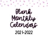 2018-2019 Blank Monthly Calendars
