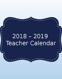 2018 - 2019 Calendar