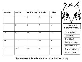 2018-2019 Calendar Behavior Charts Woodland Theme