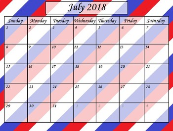 2018-2019 Calendar (July 2018-July 2019)
