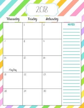 2018-2019 Calendar - Striped