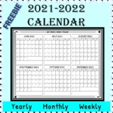 2019-2020 School/Year Calendar - Whole Year View on 2 Pages