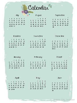 2018-2019 Calendar & Year Overview - Floral Design