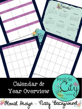 2018-2019 Calendar & Year Overview - Floral Navy Design