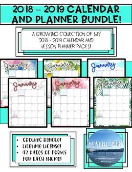 August 2018 - June 2019 Calendar and Lesson Planner Growing Bundle!