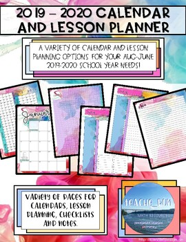 August 2018 - June 2019 Calendar and Lesson Planning Pages - Color Swirl