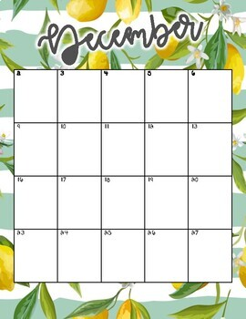 August 2018 - June 2019 Calendar and Lesson Planning Pages - Lemons