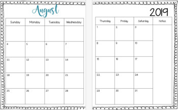 2018-2019 Calendar and Weekly Lesson Plan Templates