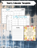 Yearly Calendar and Weekly Lesson Plan Templates