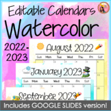 2018-2019 Calendars Watercolor Editable - July 2018 to December 2019