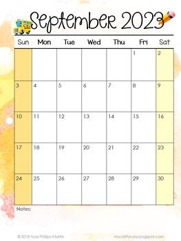 2018-2019 Calendars Watercolor Editable - July 2018 to December 2019