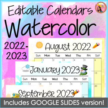 2020 Calendar Please 2019 2020 Calendars Editable Watercolor to December 2020 | TpT