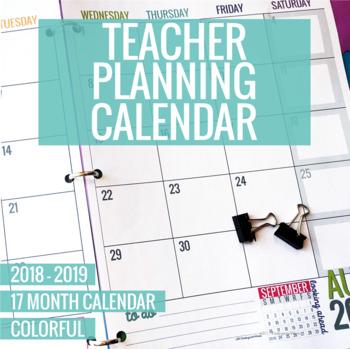 Teachers Calendar 2019 Expires Soon] 2018 2019 Colorful Teacher Planning Calendar Template
