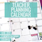 [Expires Soon]  2018-2019 Colorful Teacher Planning Calendar Template
