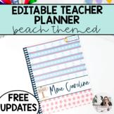 2018-2019 EDITABLE Teacher Binder/Lesson Planner (Beach Theme)