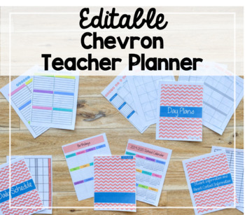 2018-2019 EDITABLE Teacher Binder/Lesson Planner (Chevron Theme)