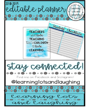 2018-2019 EDITABLE Teacher Planner! (Watercolor)