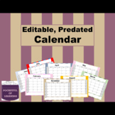 2018-2019 Editable Landscape Calendar (With free updates)