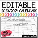 2018-2019 Editable Calendar (Black and White)