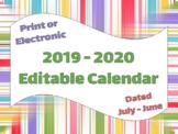 2019 - 2020 Editable Calendar Template