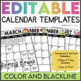 2018-2019 Editable Calendar Templates (Color AND Blackline)