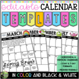 2019-2020 Editable Calendar Templates (Color AND Blackline with Yearly Updates)