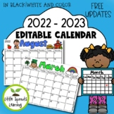 Editable Monthly Calendar 2018 - 2019 (color and black/white)