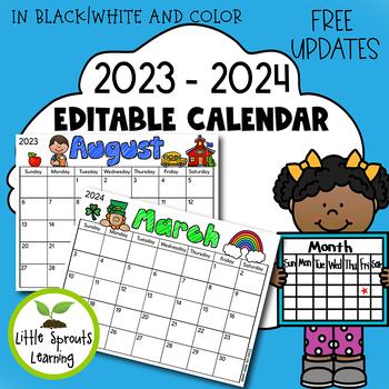 Editable Monthly Calendar 2019 - 2020