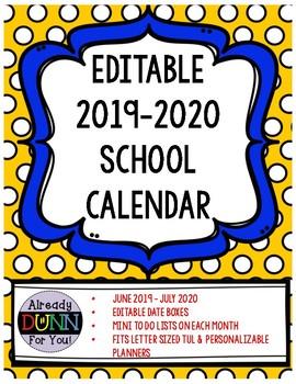 2018 - 2019 Editable Calendar for Customizable Notebooks