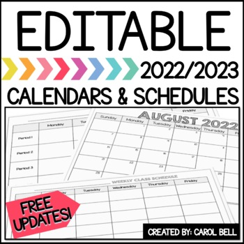 2018/2019 Editable Calendars and Student Schedules Bundle