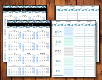 2018-2019 Editable Homeschool Teacher Planner - Blue Watercolor Herringbone