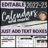Monthly Calendar 2018-2019 Editable, Teacher Organization Pages Templates-B&W