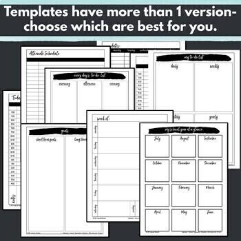 Monthly Calendar 2018-2019 Editable, Teacher Organization Pages Templates-B&W