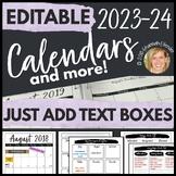 Editable Calendar 2021-2022, Teacher Planner, Organization Pages Happy Planner