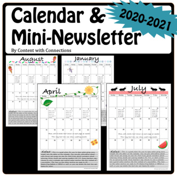 2018-2019 Editable Calendar Template with Notes (Mini-Newsletter)