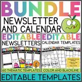 Editable Newsletter & Calendar Templates BUNDLE (Color AND Blackline)